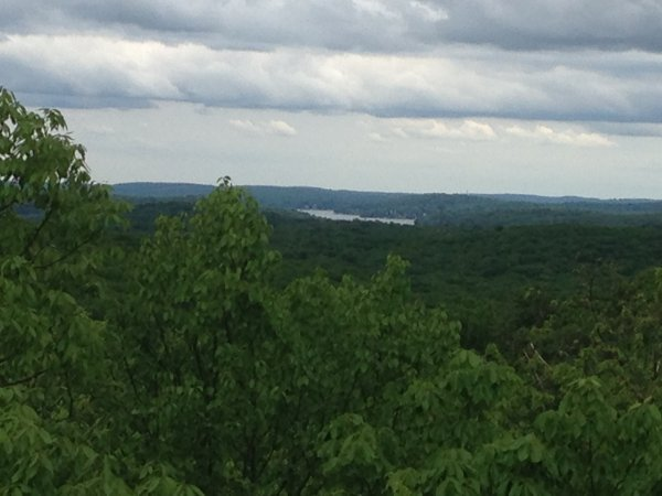 The view from Headley Overlook with Lake Hopatcong in the distance